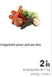 barquette de légumes