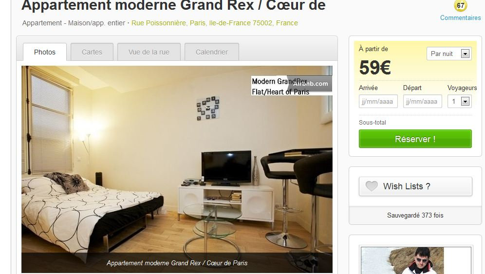 Page d'appartement Airbnb